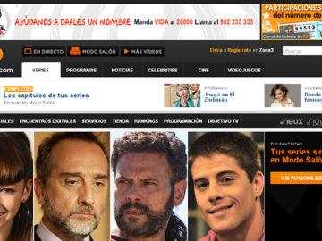 Portada de series en la web de Antena 3