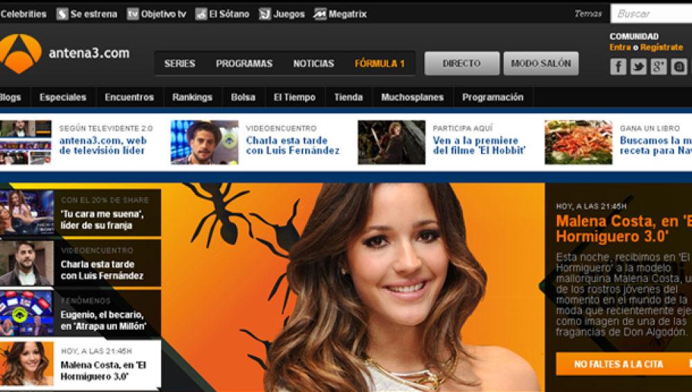 Antena3.com, web de televisión líder en España