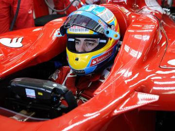 Fernando Alonso a bordo del Ferrari