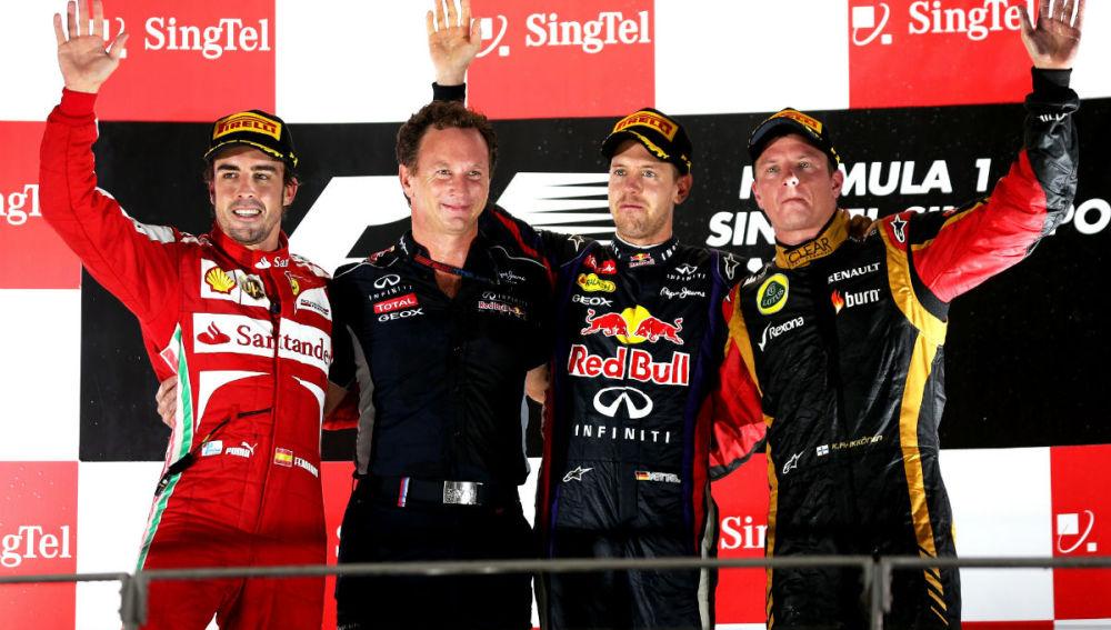 El podio del GP de Singapur 2013