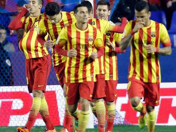 Tello celebra un de su goles ante el Levante