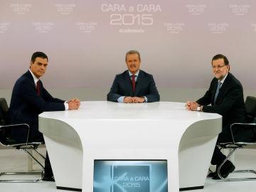 Sánchez y Rajoy en la mesa del cara a cara con Campo Vidal