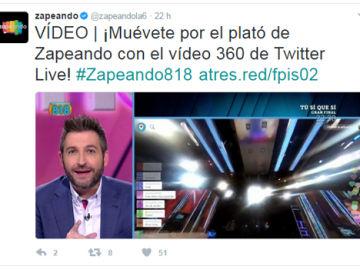 """Buen estrenó ayer de """"Twitter live 360º"""" en Zapeando"""