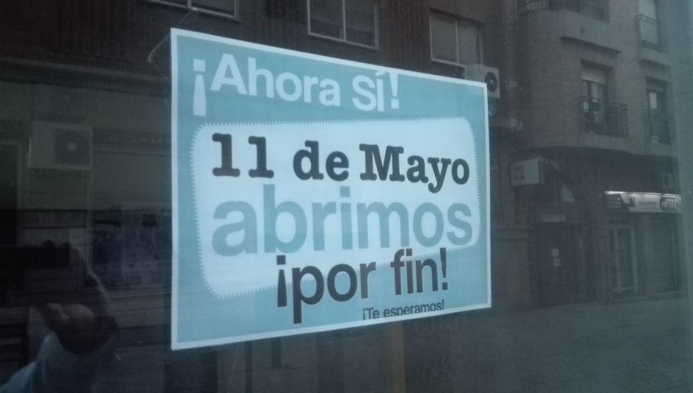 Algunos comercios de Ciudad Real ya anuncian en sus escaparates la reapertura para el día 11