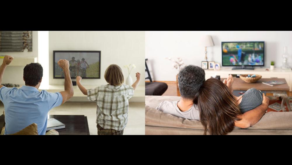 Distintos espectadores viendo la televisión