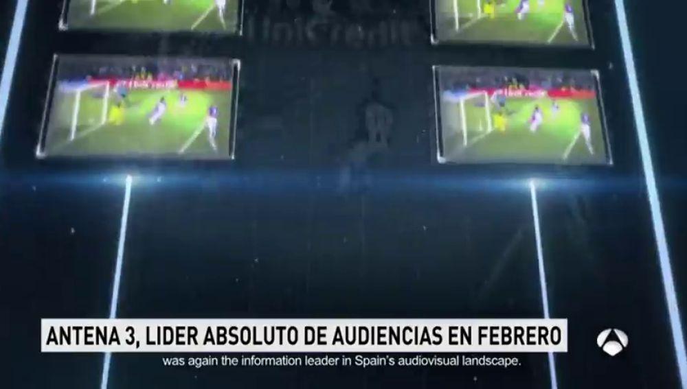 Antena 3 (12,8%), TV líder de audiencia en febrero