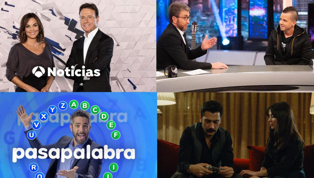 Antena 3 logra lo más visto del lunes y el martes con los informativos y programas líderes